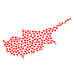Heart mosaic map of cyprus island vector