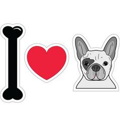 I love french bulldog in color plain vector