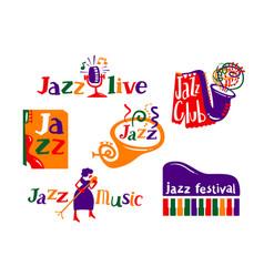 jazz festival cartoon icons set live music vector image