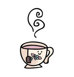 Kawaii teacup cartoon motif vector