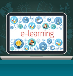 Laptop with E-Learning Icons on Screen vector image vector image