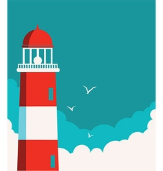 Lighthouse poster seascape background vector