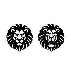 Lion head front view logo design template vector