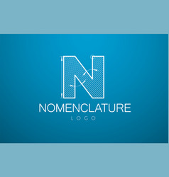 logo template letter n in style a vector image