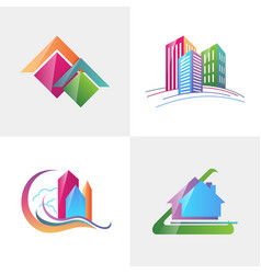 Logo template real estate apartment condo house vector