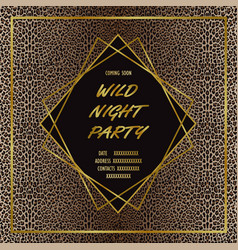 Luxury wild party invitation card with leopard vector