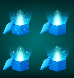 Magical light coming out blue gift boxes vector