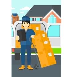 Man delivering boxes vector