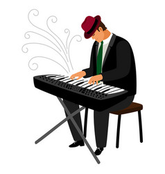 Man in hat play on classical instrument vector