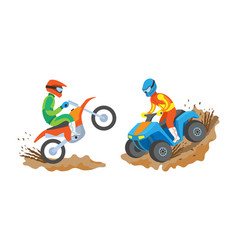 man riding motorbike and quad bike extreme sports vector image