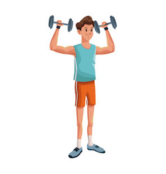 Man sports weight training vector