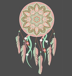 mandala with dreamcatcher vector image