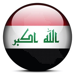 Map with Dot Pattern on flag button of Iraq vector
