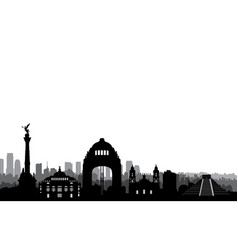Mexico city skyline cityscape landmark silhouette vector