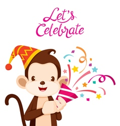 Monkey Fun With Party vector image