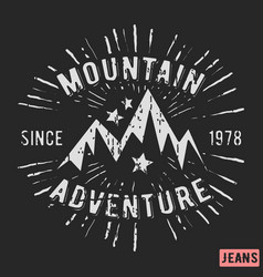 Mountain adventure vintage stamp vector