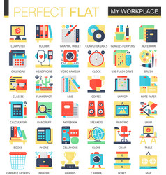 My workspace workplace complex flat icon vector