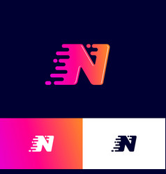 n letter winds movement dynamic logo velocity deli vector image