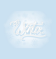 nice lettering word winter and snowflakes vector image