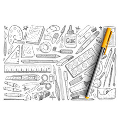 objects for creative hobby doodle set vector image