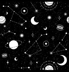 Occult trendy seamless pattern with moon planet vector