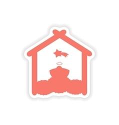 Paper sticker on white background newborn jesus vector