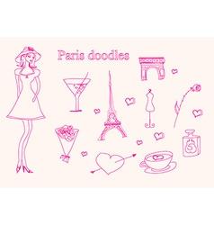Paris doodles set vector