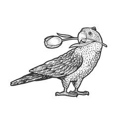 parrot with tulip in beak sketch vector image