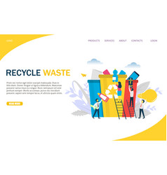 recycle waste website landing page design vector image