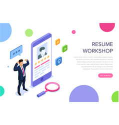 Resume workshop concept with characters can use vector
