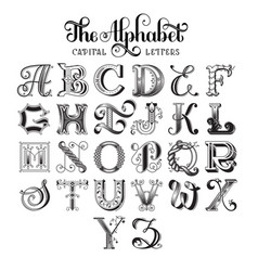 Retro decorative font vector