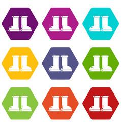 Rubber garden boots icons set 9 vector