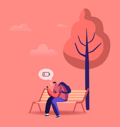 sad man sitting on bench in park with smartphone vector image