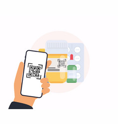 scan qr code from pills to mobile phone vector image