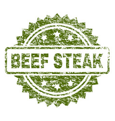 scratched textured beef steak stamp seal vector image