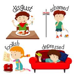 Set children expressing feelings vector