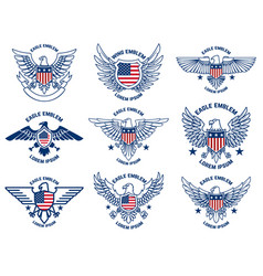 set emblems with eagles and usa flags design vector image