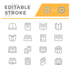 set line icons of book vector image