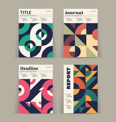 Set of retro covers abstract compositions vector
