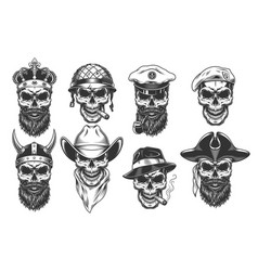 set of warriors in the wearhead vector image