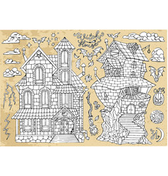 set scary halloween traditional houses vector image