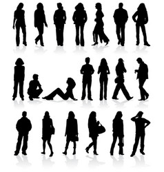 set silhouettes man and women vector image