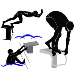 Set silhouettes of swimmers athletes vector