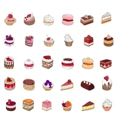 Set with different kinds of dessert cake muffin vector image