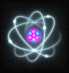Shining neon planetary model nuclear atom vector