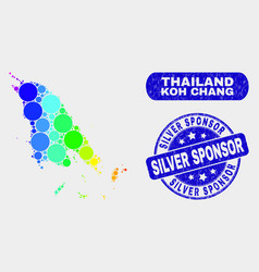 Spectrum mosaic koh chang map and grunge silver vector