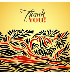 Thank you gold typographic card with ink floral vector