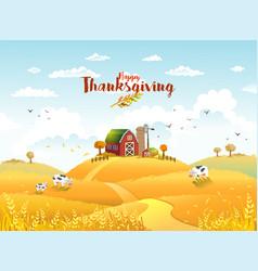 thanksgiving autmn landscape with farm vector image