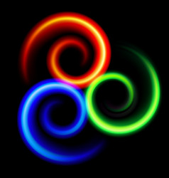 Three an abstract colorful swirls on black vector