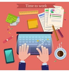 Time to Work Modern Workplace Top View on Desk vector